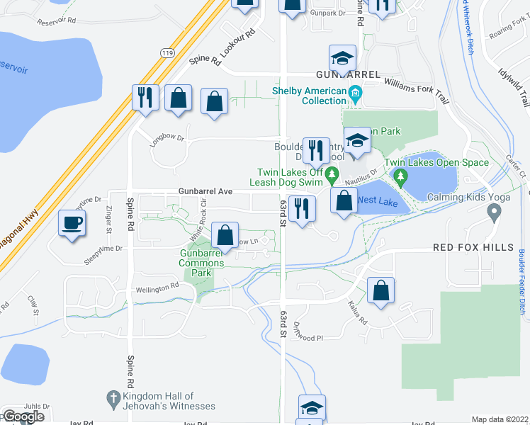 map of restaurants, bars, coffee shops, grocery stores, and more near 6226-6298 Habitat Drive in Boulder