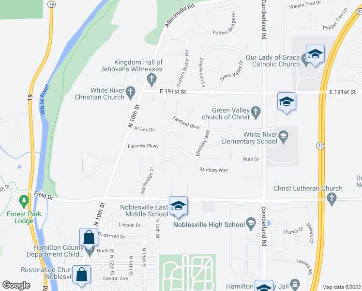map of restaurants, bars, coffee shops, grocery stores, and more near 9466 Fairview Parkway in Noblesville