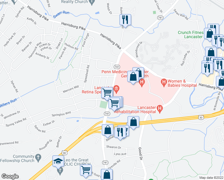 map of restaurants, bars, coffee shops, grocery stores, and more near 1110 Rohrerstown Road in Lancaster
