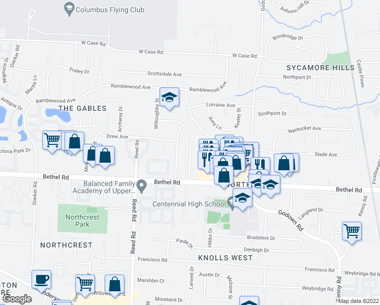 map of restaurants, bars, coffee shops, grocery stores, and more near Portland St in Columbus