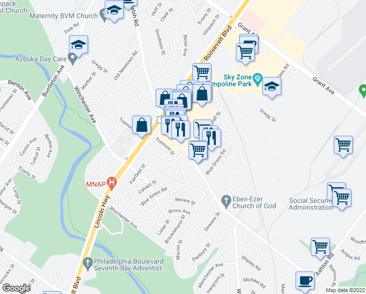 map of restaurants, bars, coffee shops, grocery stores, and more near 2375 Welsh Road in Philadelphia