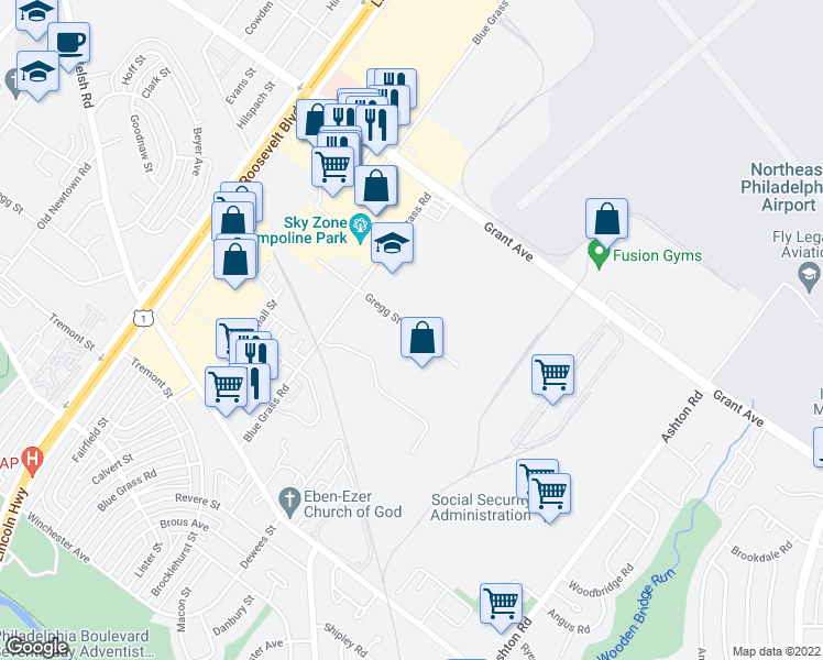 map of restaurants, bars, coffee shops, grocery stores, and more near 2400-2498 Gregg Street in Philadelphia