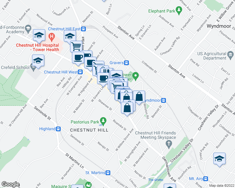 map of restaurants, bars, coffee shops, grocery stores, and more near 8229 Germantown Avenue in Philadelphia