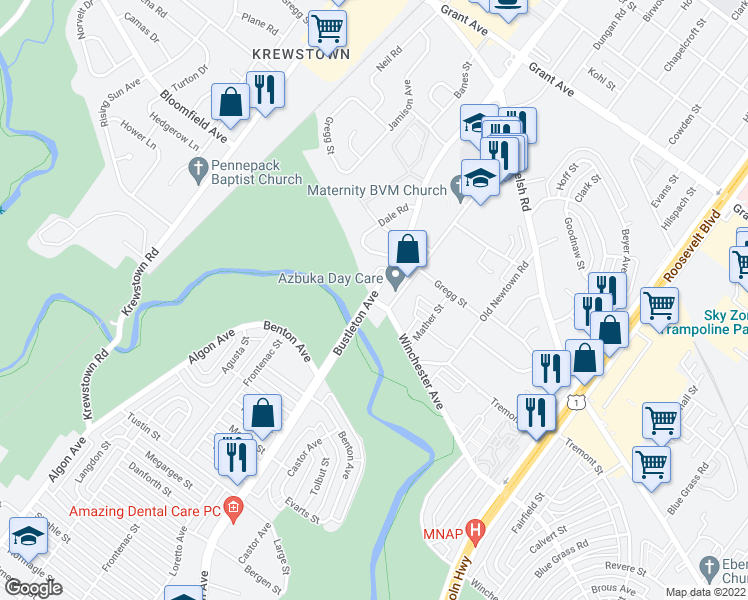 map of restaurants, bars, coffee shops, grocery stores, and more near 9038 Old Bustleton Avenue in Philadelphia