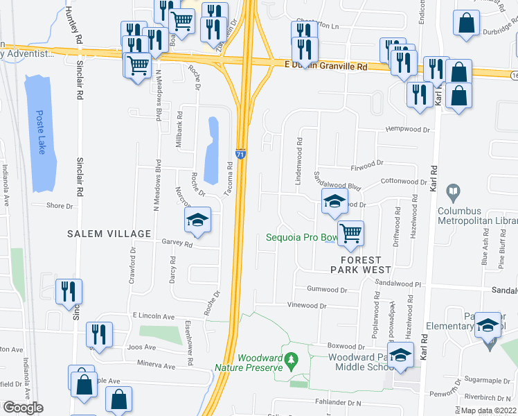 map of restaurants, bars, coffee shops, grocery stores, and more near 5599 Ironwood Ct in Columbus