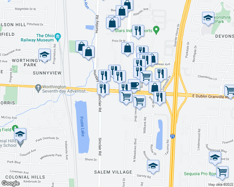 map of restaurants, bars, coffee shops, grocery stores, and more near 827-891 East Dublin Granville Road in Columbus