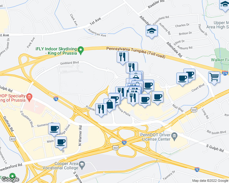 map of restaurants, bars, coffee shops, grocery stores, and more near King of Prussia Plaza in King of Prussia