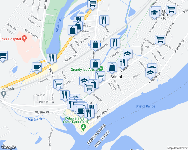 map of restaurants, bars, coffee shops, grocery stores, and more near 400-498 Beaver Street in Bristol
