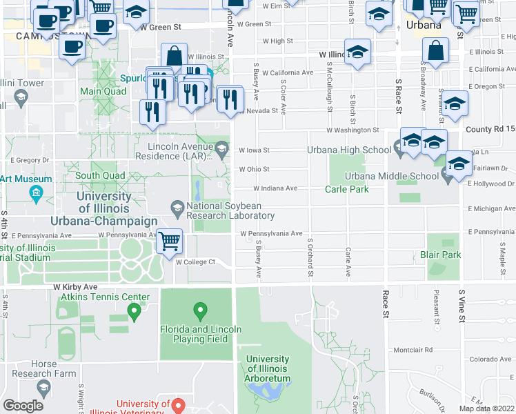 map of restaurants, bars, coffee shops, grocery stores, and more near S Busey Ave & W Michigan Ave in Urbana