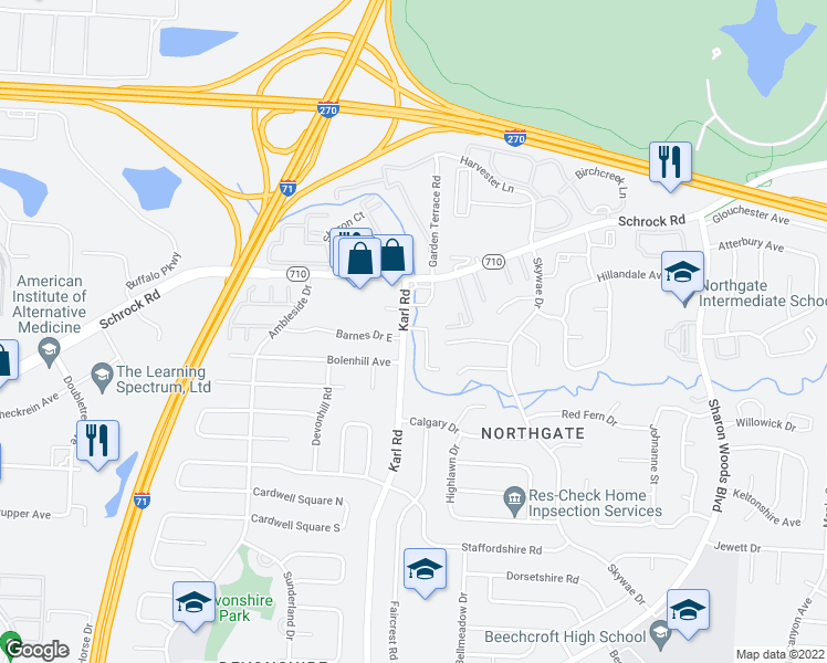 map of restaurants, bars, coffee shops, grocery stores, and more near 6677 Guinevere Dr in Columbus