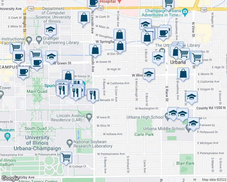map of restaurants, bars, coffee shops, grocery stores, and more near 702 West Oregon Street in Urbana