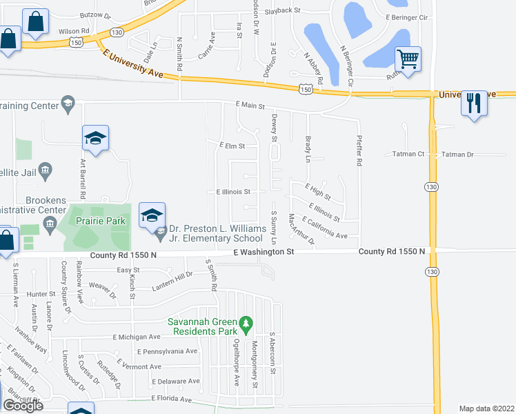 map of restaurants, bars, coffee shops, grocery stores, and more near East California Avenue & Scottswood Drive in Urbana