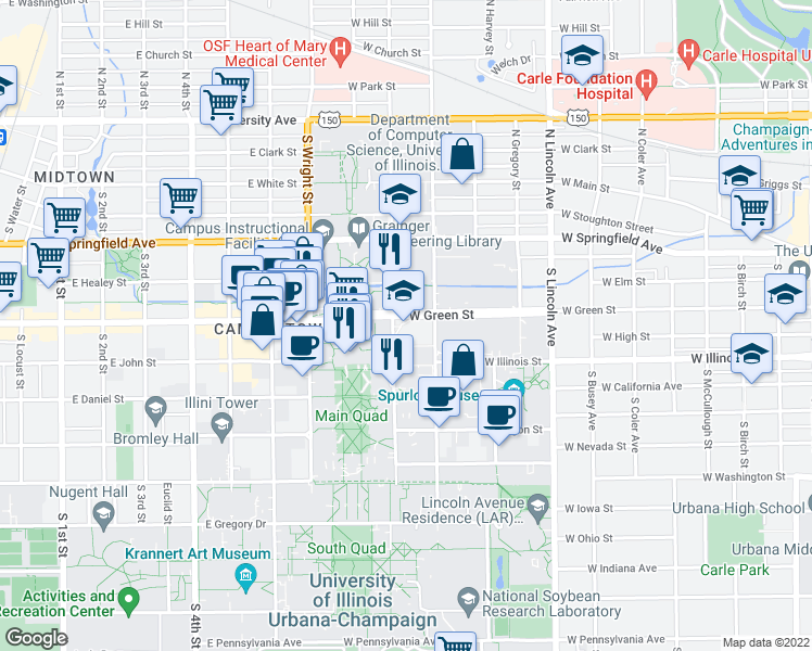 map of restaurants, bars, coffee shops, grocery stores, and more near 308 S Mathews Ave in Urbana