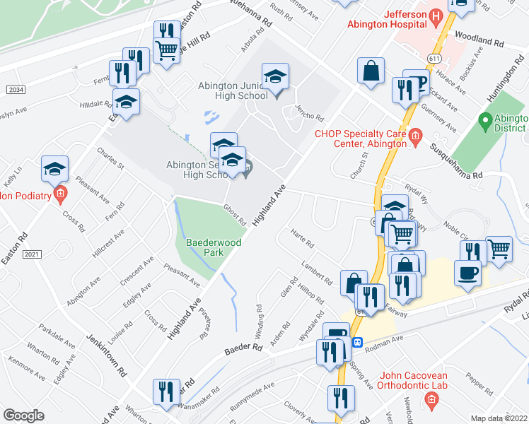 map of restaurants, bars, coffee shops, grocery stores, and more near 869-875 Highland Avenue in Jenkintown