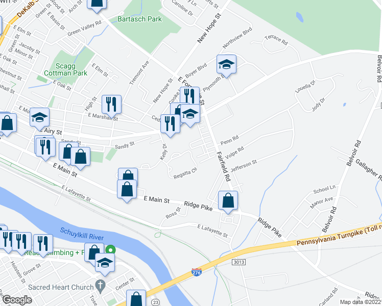 map of restaurants, bars, coffee shops, grocery stores, and more near 2423 Regatta Circle in Norristown
