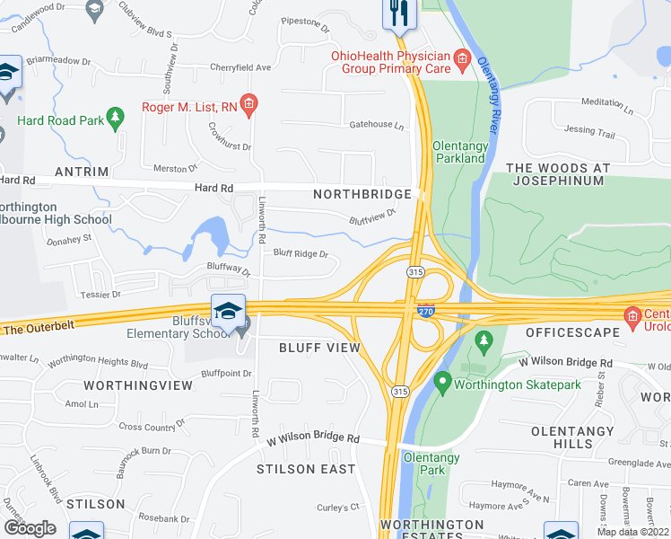 map of restaurants, bars, coffee shops, grocery stores, and more near 847 Bluffway Dr in Columbus