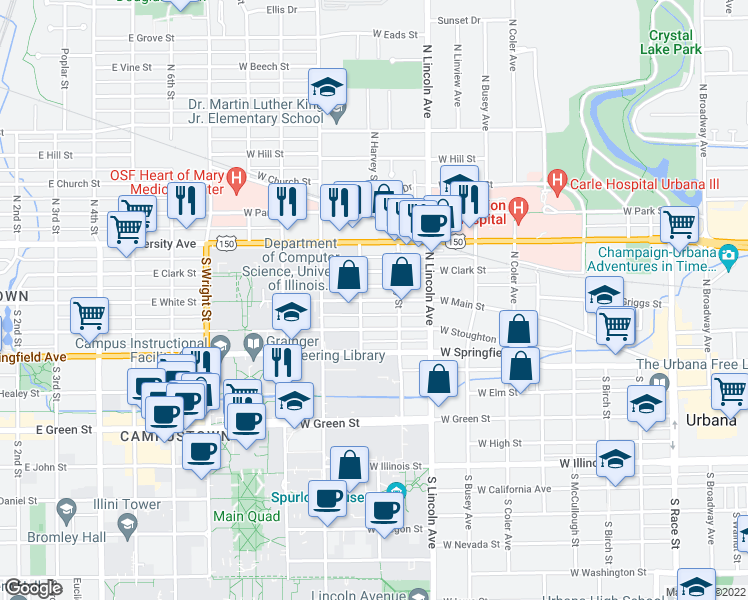 map of restaurants, bars, coffee shops, grocery stores, and more near 1008 W Main St in Urbana