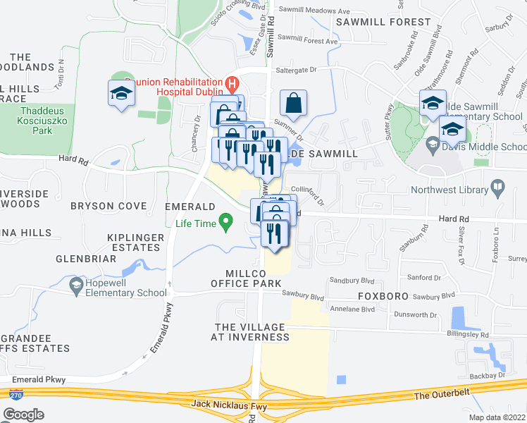 map of restaurants, bars, coffee shops, grocery stores, and more near Sawmill Road & Hard Road in Columbus