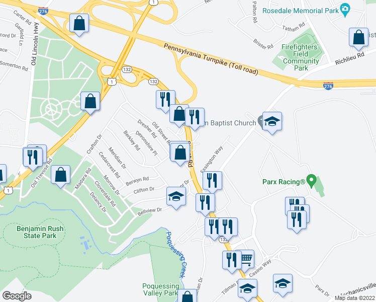map of restaurants, bars, coffee shops, grocery stores, and more near 3477-3499 Street Road in Bensalem