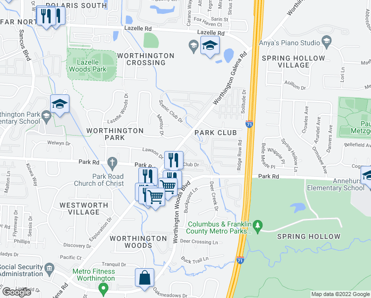 map of restaurants, bars, coffee shops, grocery stores, and more near 1481 Bunchline Dr in Westerville