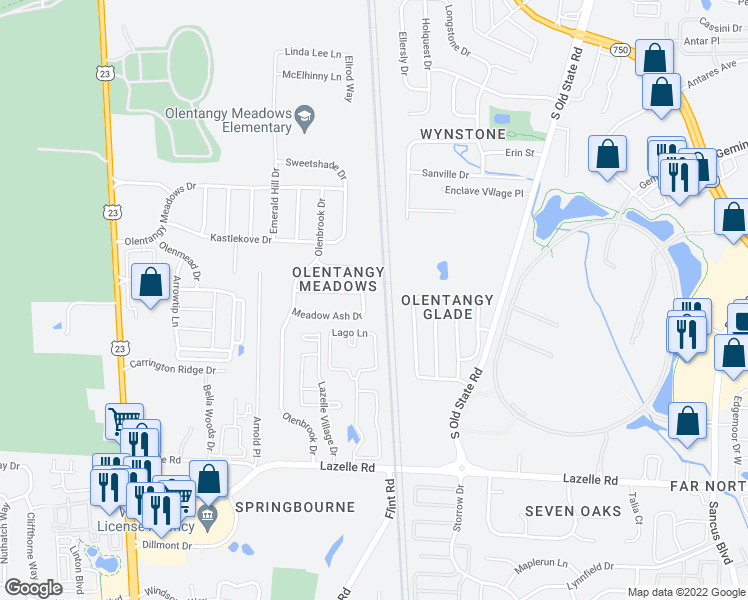 map of restaurants, bars, coffee shops, grocery stores, and more near 8720 Woodwind Drive in Lewis Center