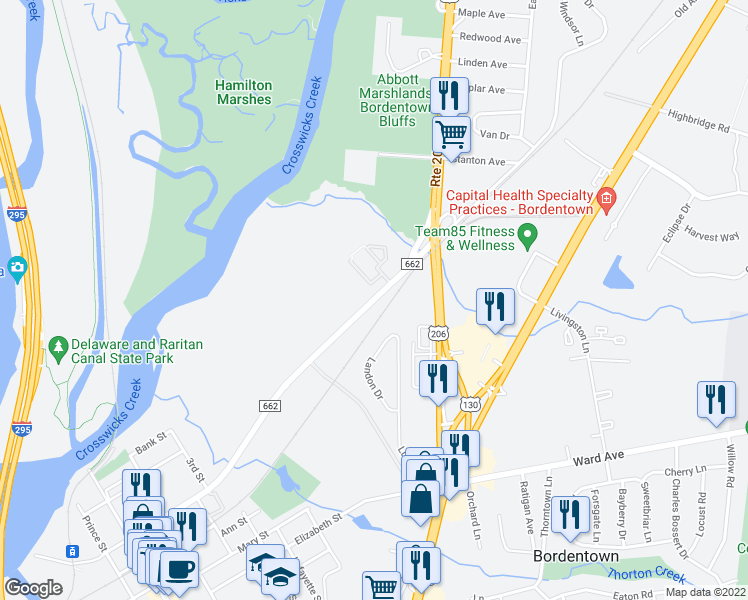 map of restaurants, bars, coffee shops, grocery stores, and more near None in Bordentown