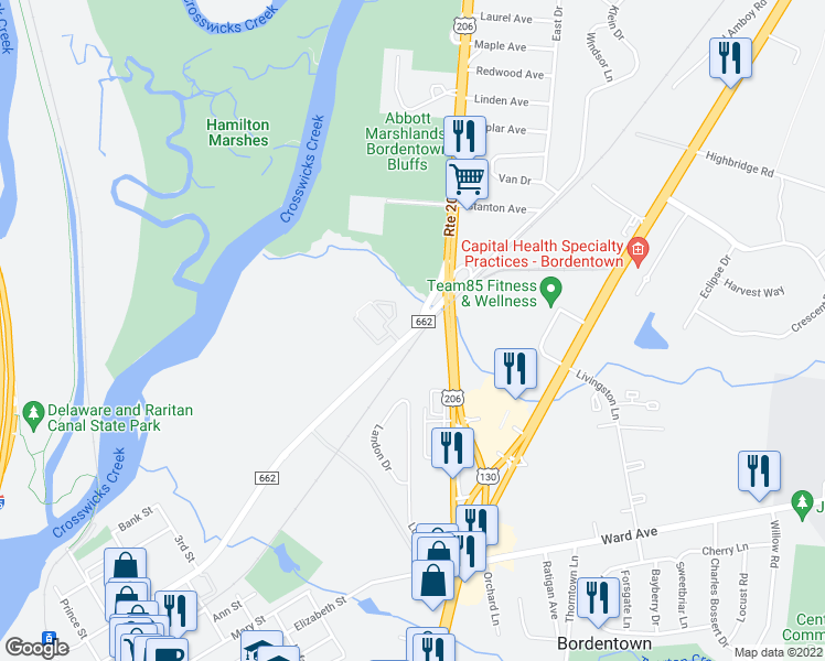 map of restaurants, bars, coffee shops, grocery stores, and more near 619-699 East Park Street in Bordentown