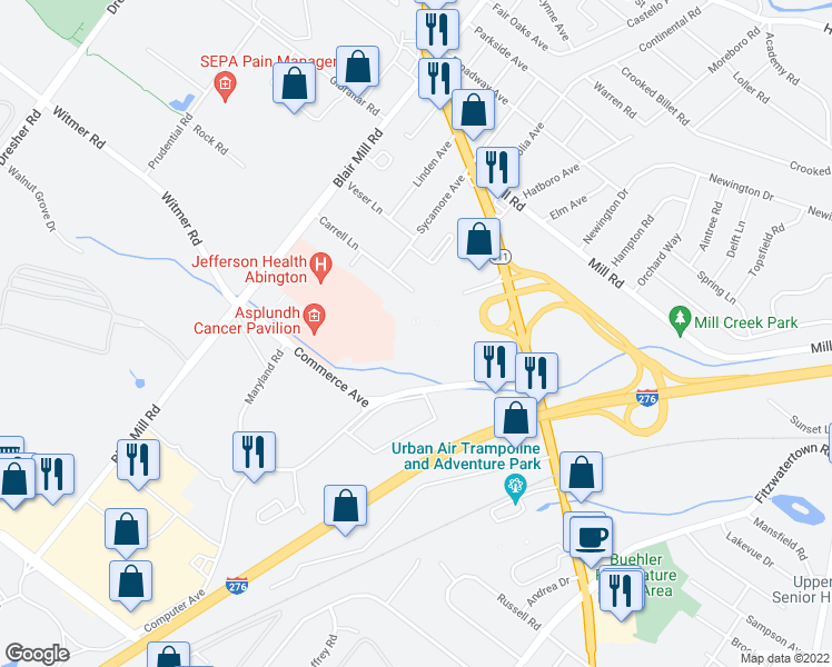 map of restaurants, bars, coffee shops, grocery stores, and more near 17 & 18 in Willow Grove