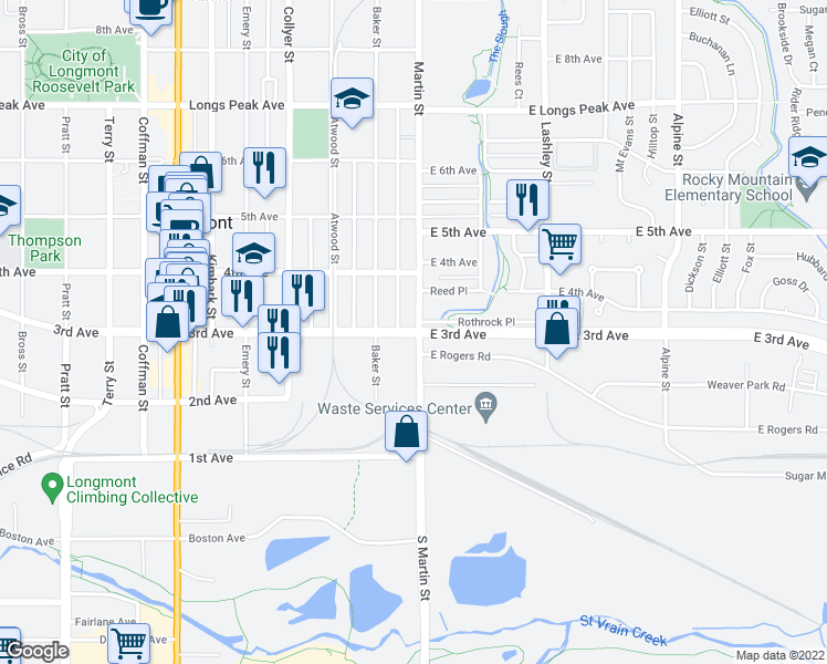 map of restaurants, bars, coffee shops, grocery stores, and more near East 3rd Avenue in Longmont