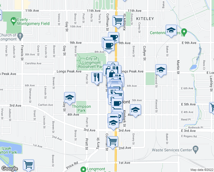 map of restaurants, bars, coffee shops, grocery stores, and more near 554-586 Coffman Street in Longmont