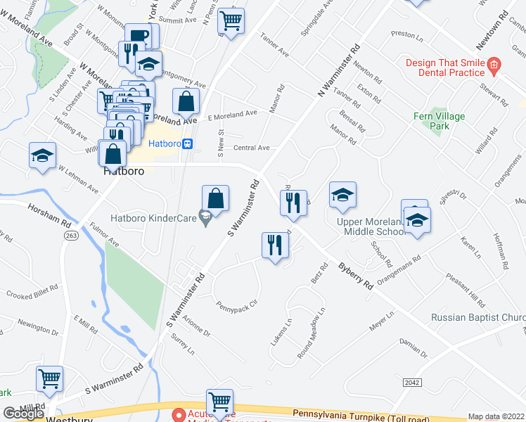 map of restaurants, bars, coffee shops, grocery stores, and more near 307 S Warminster Rd in Hatboro