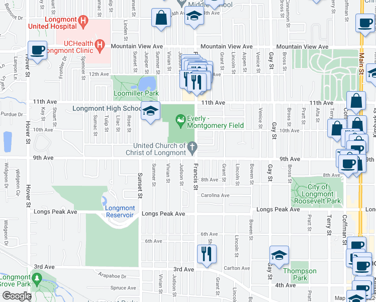 map of restaurants, bars, coffee shops, grocery stores, and more near None in Longmont