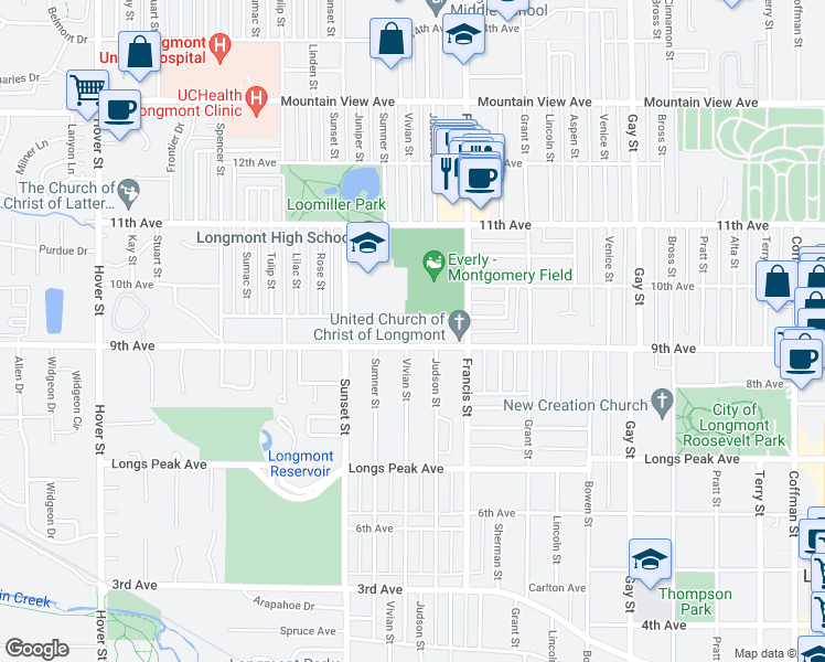 map of restaurants, bars, coffee shops, grocery stores, and more near 1701-1799 Warren Ave in Longmont