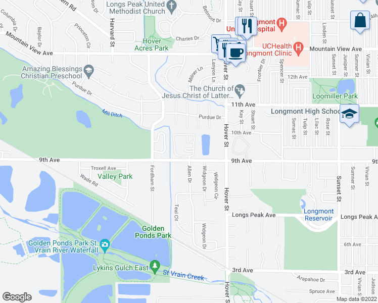 map of restaurants, bars, coffee shops, grocery stores, and more near 2424 9th Ave in Longmont