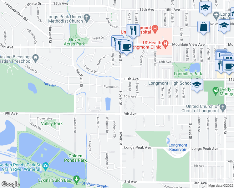 map of restaurants, bars, coffee shops, grocery stores, and more near 18 Ash Court in Longmont