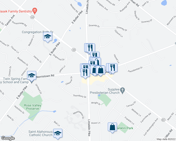 map of restaurants, bars, coffee shops, grocery stores, and more near 504 Limekiln Pike in Ambler