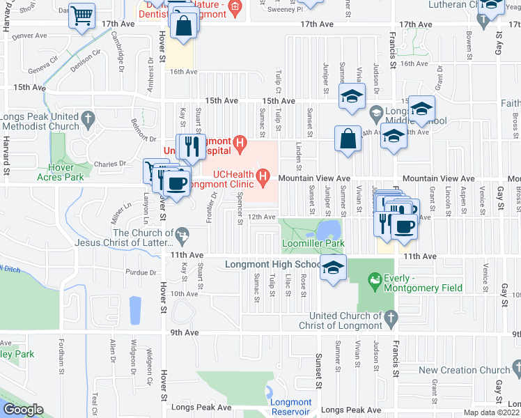 map of restaurants, bars, coffee shops, grocery stores, and more near 1223-1299 Tulip St in Longmont