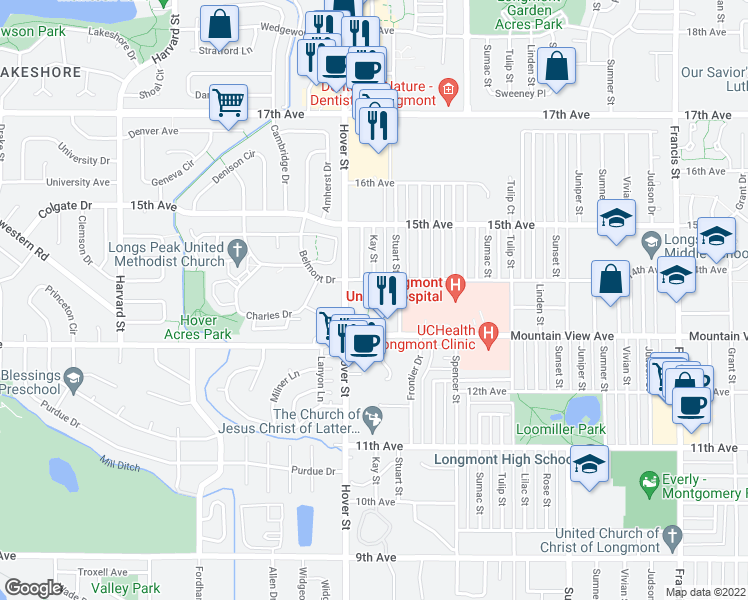 map of restaurants, bars, coffee shops, grocery stores, and more near 2130 Mountain View Avenue in Longmont