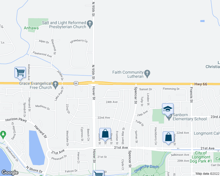 map of restaurants, bars, coffee shops, grocery stores, and more near 9516-9578 Ute Hwy in Longmont