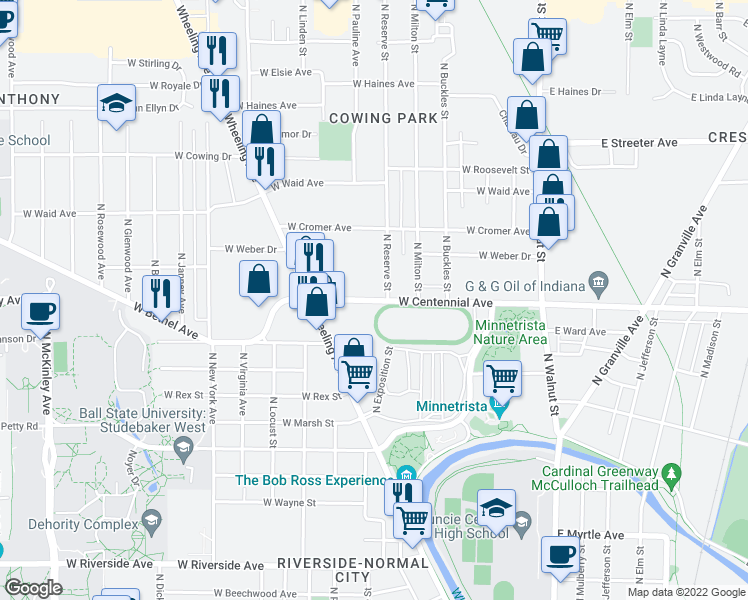 map of restaurants, bars, coffee shops, grocery stores, and more near 1701 N