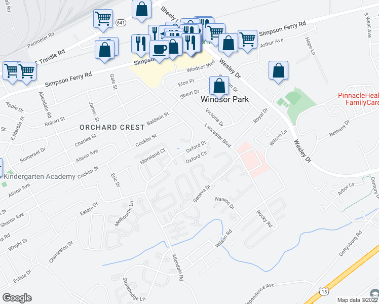 map of restaurants, bars, coffee shops, grocery stores, and more near 5341-5383 Oxford Dr in Mechanicsburg