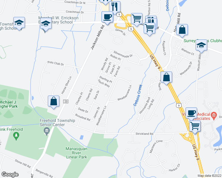 map of restaurants, bars, coffee shops, grocery stores, and more near 303 Farm Road in Freehold