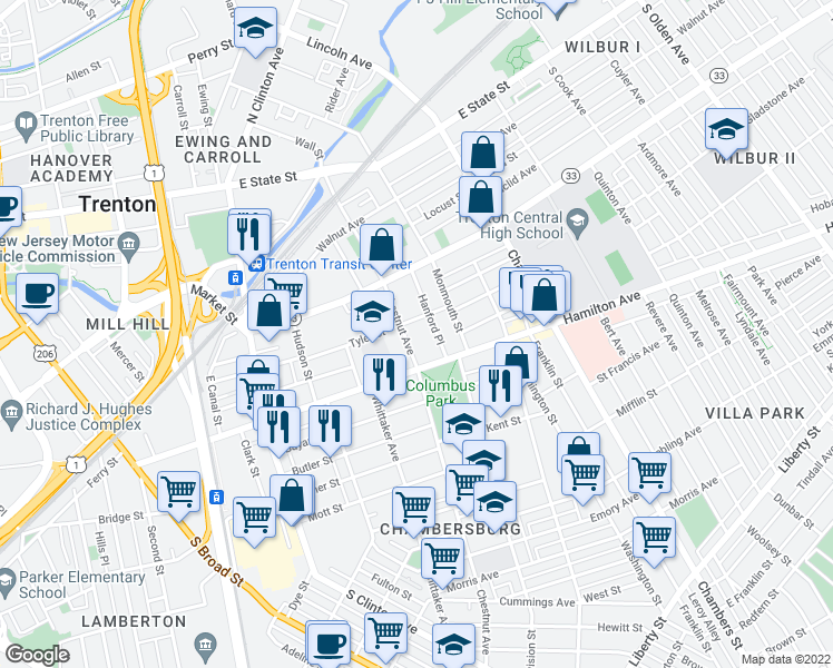 map of restaurants, bars, coffee shops, grocery stores, and more near 318 Chestnut Avenue in Trenton