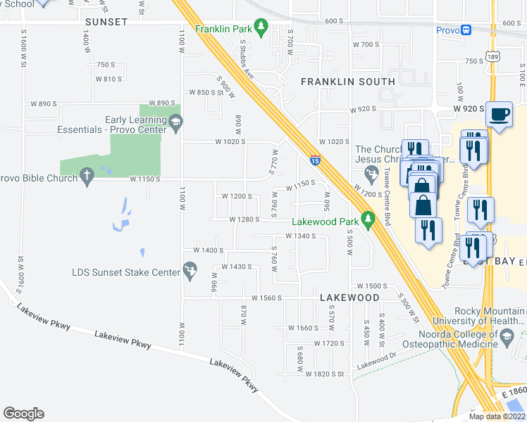 map of restaurants, bars, coffee shops, grocery stores, and more near 747 West 1280 South in Provo