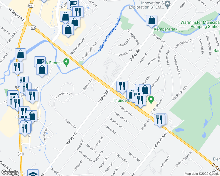 map of restaurants, bars, coffee shops, grocery stores, and more near W Street Rd & Valley Rd in Warminster