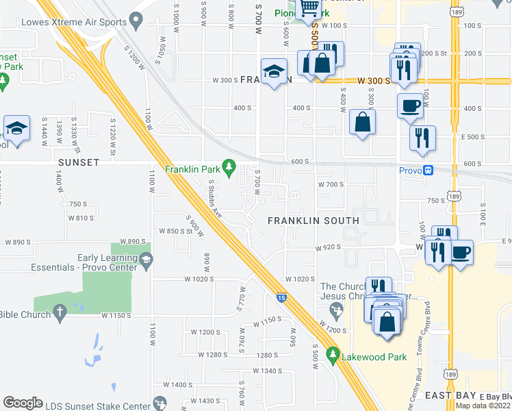 map of restaurants, bars, coffee shops, grocery stores, and more near 754 S 650 W St in Provo