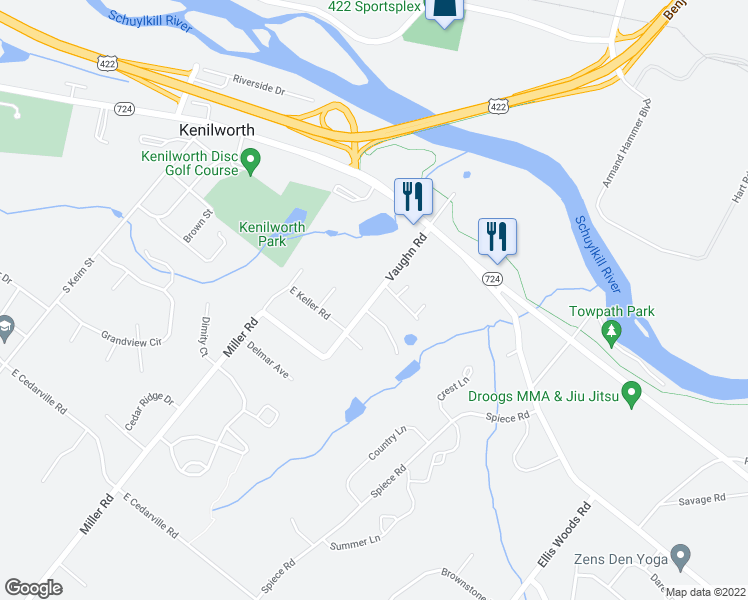 map of restaurants, bars, coffee shops, grocery stores, and more near 820 Vaughn Rd in Pottstown