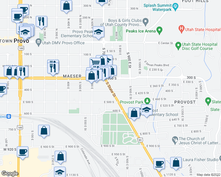 map of restaurants, bars, coffee shops, grocery stores, and more near 1072 East 400 South in Provo