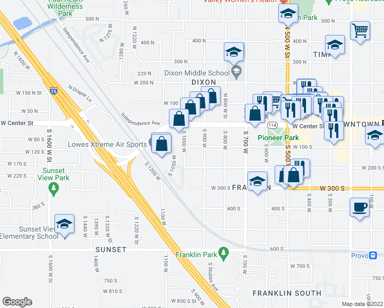 map of restaurants, bars, coffee shops, grocery stores, and more near 950 West 200 South in Provo
