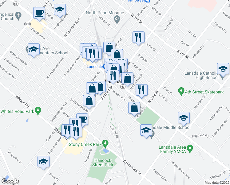 map of restaurants, bars, coffee shops, grocery stores, and more near 21 Jenkins Avenue in Lansdale